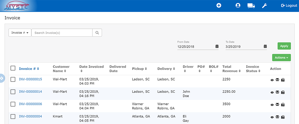 Invoicing Screen - mystc trucking software